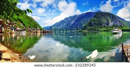 beautiful lake with swans in Hallstatt, Austria - stock photo