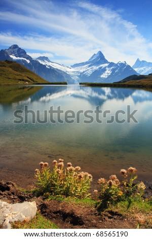 Beautiful lake with swiss mountain reflection, snow, and highest summits. Switzerland - Grindelwald - stock photo
