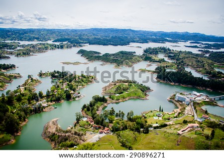 Beautiful lakes in green landscape - stock photo