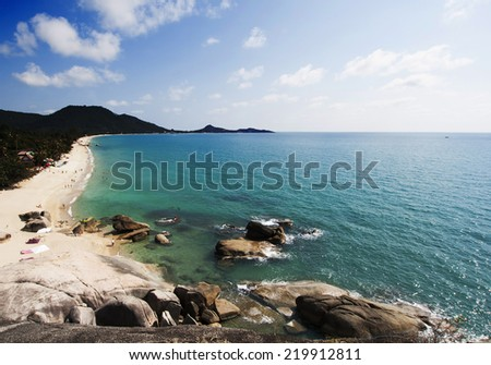 Beautiful Lamai beach, Ko Samui, Thailand - exotic holiday background  - stock photo