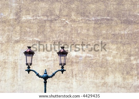 Beautiful Lamps and Vintage Wall - stock photo