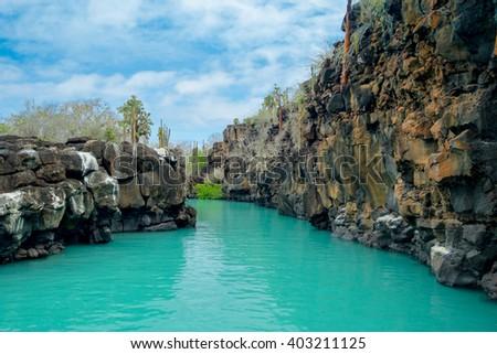 Beautiful landmark Las Grietas is a geological canyon formation in Galapagos Islands at Santa Cruz, Puerto Ayora - stock photo