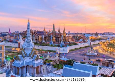 Beautiful Landmark of Bangkok city, Temple of the Emerald Buddha, Thailand - stock photo