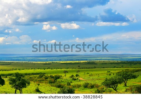 Beautiful landscape. Africa. Kenya. Masai Mara - stock photo