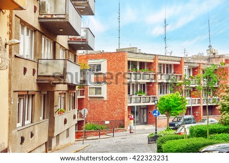Beautiful landscape and urban view of the Budapest, streets, buildings. Hungary - stock photo