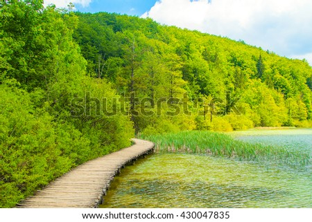 Beautiful landscape and wooden trail in Plitvice Lakes National Park in Croatia