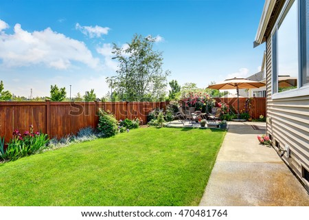 Concrete Backyard Landscaping Design beautiful landscape design backyard garden patio stock photo