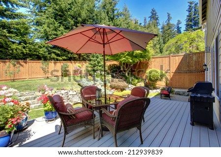 Back yard stock images royalty free images vectors for Beautiful garden decking
