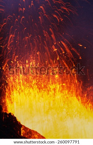 Beautiful landscape: eruption Tolbachik Volcano - fountain lava from volcano. Russia, Far East, Kamchatka Peninsula. - stock photo