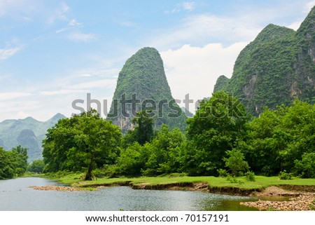 Beautiful landscape from river Li in southern china - stock photo