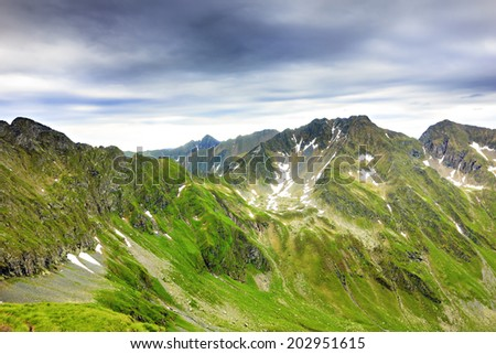 Beautiful landscape from the rocky Fagaras mountains in Romania in the summer - stock photo