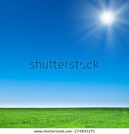 beautiful landscape, green grass, blue sky - stock photo