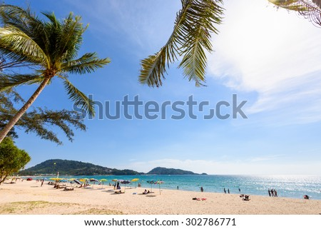 Beautiful landscape Hat Patong Beach and Andaman Sea under sky sunny at the summer, famous attractions in Phuket island of Thailand