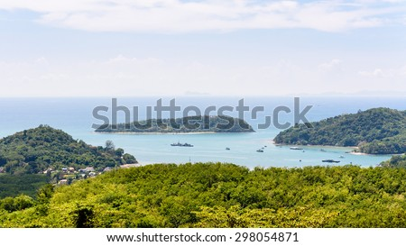 Beautiful landscape high angle view Andaman Sea and bay of Koh Tapao Noi in Phuket Island from Khao-Khad viewpoint famous attractions of Thailand, 16:9 Wide Screen - stock photo