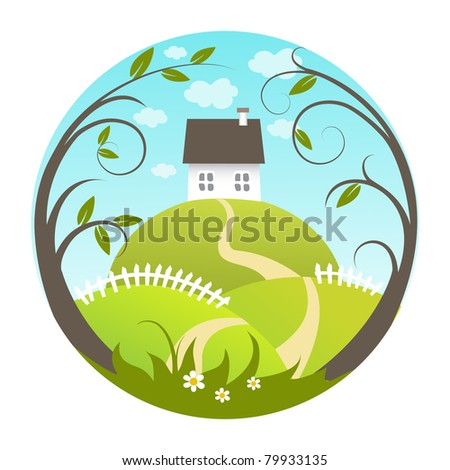 Beautiful landscape icon - stock photo