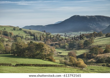 Beautiful landscape image of Lake District during Autumn Fall in England