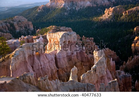 beautiful landscape in Bryce Canyon with magnificent Stone formation like Amphitheater, temples, figures in Morning light