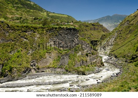 Beautiful landscape in cloud forest near Banos, one of Ecuadors most enticing and popular tourist destination. Volcano Tungurahua - stock photo