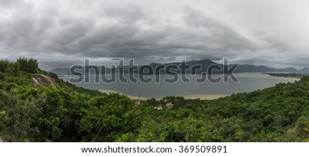 Beautiful landscape in Conceicao lagoon in Florianopolis, Santa Catarina, Brazil. This city is one of the main tourists destination in south region.