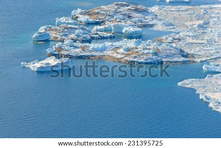 beautiful Landscape in Greenland with ice, snow and water. Global warming - stock photo