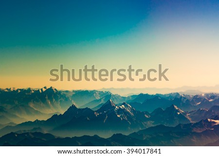 Beautiful landscape in Himalayas at the sunset time, Ladakh India. - stock photo