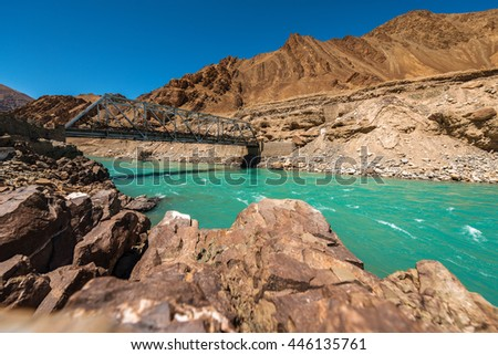 Beautiful landscape in Himalayas Mountain with river and blue sky , Leh Ladakh