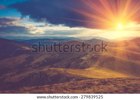 Beautiful landscape in the mountains at sunshine. Filtered image:cross processed vintage effect.  - stock photo