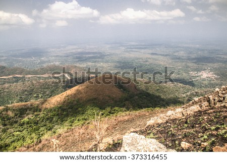 Beautiful landscape in the mountains in Amedzofe in the Volta Region, Ghana - stock photo
