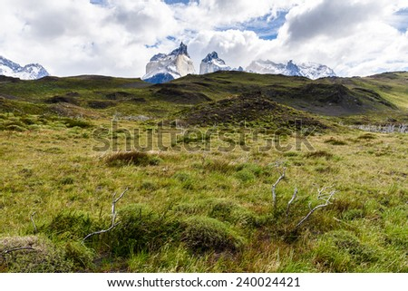 Beautiful landscape in the Torres del Paine National Park, Patagonia, Chile - stock photo