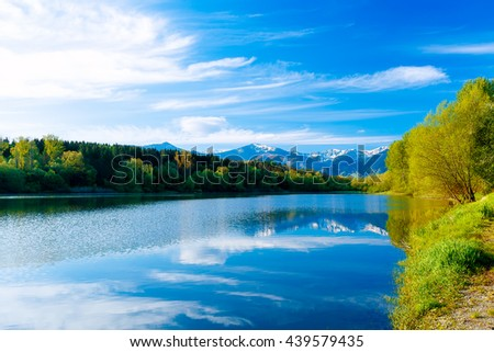 Beautiful landscape, Lake and snow mountain in background - stock photo