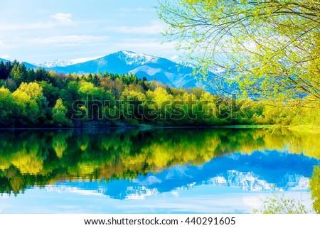 Beautiful landscape, Lake and snow mountain in background. Slovakia Liptovska Mara, in region Liptov - stock photo