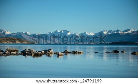 Beautiful landscape lake tekapo, church Good shepherd, Mt.cook, - stock photo