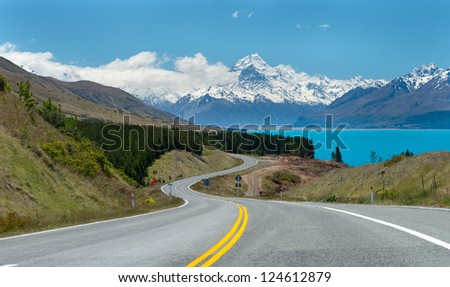 Beautiful landscape lake tekapo, Mt.cook, Lupines fields, South island New Zealand - stock photo