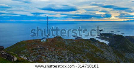 Beautiful landscape Lofoten Islands with radio - stock photo