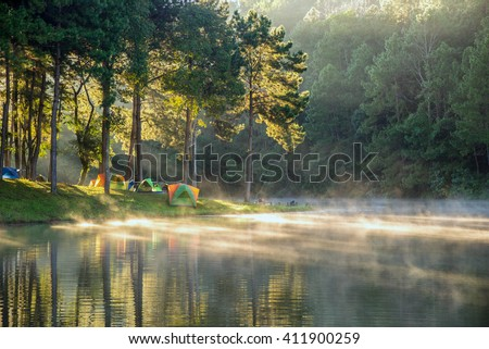Beautiful landscape morning sunrise over stream and pine tree camping in lake - stock photo