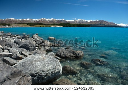 Beautiful landscape Mountains, and lake, South island New Zealand - stock photo