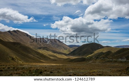 Beautiful landscape Mountains, Lindis pass, South island New Zealand - stock photo