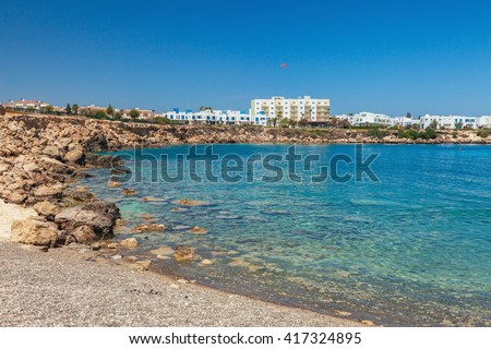Beautiful landscape near of Nissi beach and Cavo Greco in Ayia Napa, Cyprus island, Mediterranean Sea. Amazing blue green sea and sunny day.