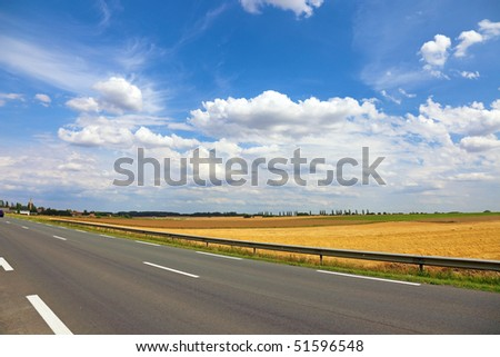 Beautiful landscape near road, France, Europe. - stock photo