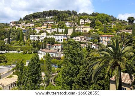Beautiful landscape near the village Saint-Paul-de-Vence , Provence, South France. - stock photo