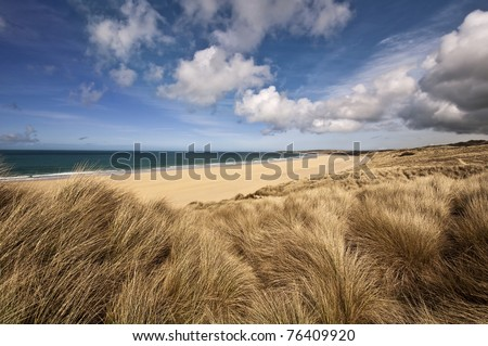 Beautiful landscape of a beach in cornwall england - stock photo