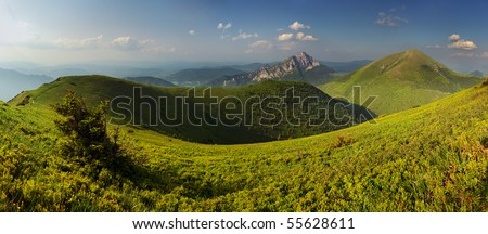 Beautiful landscape of a mountain relief of Fatras - stock photo