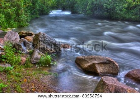 Beautiful landscape of a River rapids in High Dynamic Range.