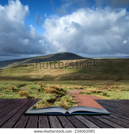 Beautiful landscape of Brecon Beacons National Park with dramatic sky conceptual book image - stock photo
