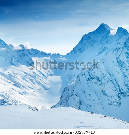 beautiful landscape of Caucasus mountain, covered peaks Dombaj, Russia, close up - stock photo