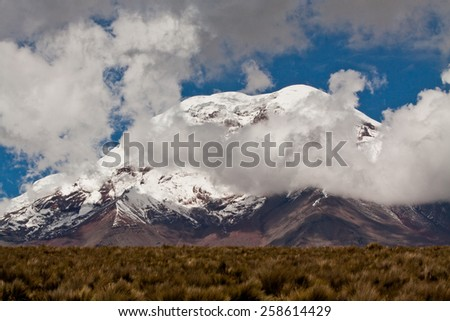 Beautiful landscape of Chimborazo volcano in the Andes, the highest mountain of Ecuador - stock photo