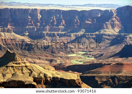 Beautiful Landscape of Grand Canyon from Grand View Point with the Colorado River visible during Late Sunrise