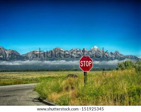 Beautiful landscape of Grand Tethon National Park, Wyoming. - stock photo