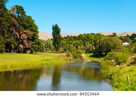 Beautiful landscape of green forest near a stream  in Villa Ventana, Sierra de la Ventana, Argentina - stock photo