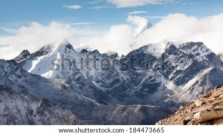 Beautiful landscape of Himalayas mountains  - stock photo
